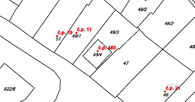 Lhota 480, Plzeň na parcele st. 49/4 v KÚ Lhota u Dobřan, Katastrální mapa