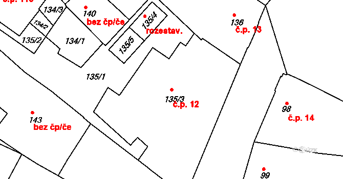 Miroslav 12 na parcele st. 135/3 v KÚ Miroslav, Katastrální mapa