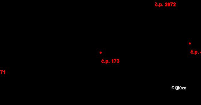 Jižní Předměstí 173, Plzeň na parcele st. 10273/1 v KÚ Plzeň, Katastrální mapa