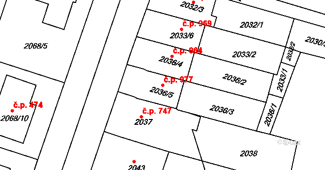 Nivnice 977 na parcele st. 2036/5 v KÚ Nivnice, Katastrální mapa