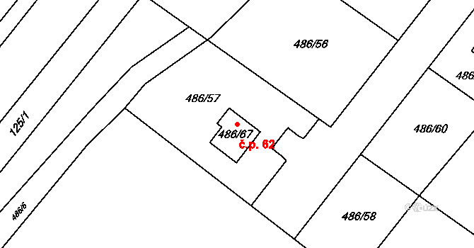 Pístov 62, Jihlava na parcele st. 486/67 v KÚ Pístov u Jihlavy, Katastrální mapa