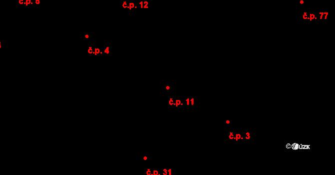 Kosov 11 na parcele st. 62/2 v KÚ Kosov, Katastrální mapa