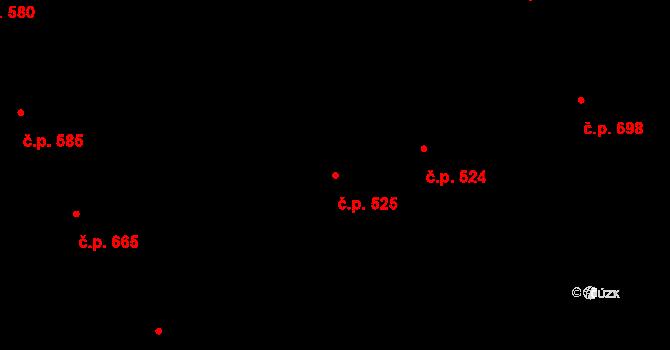 Hradec Králové 525 na parcele st. 595 v KÚ Hradec Králové, Katastrální mapa