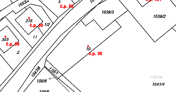 Dolní Lhota 38 na parcele st. 10 v KÚ Dolní Lhota u Luhačovic, Katastrální mapa