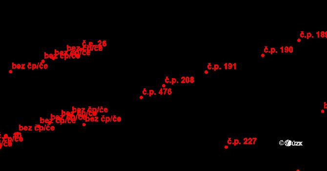 Buštěhrad 208 na parcele st. 825 v KÚ Buštěhrad, Katastrální mapa