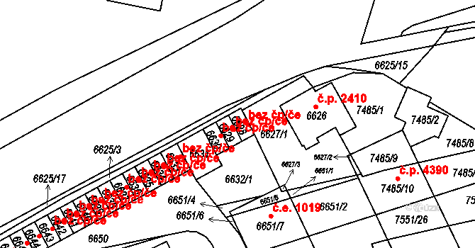 Židenice 298, Brno na parcele st. 6628 v KÚ Židenice, Katastrální mapa