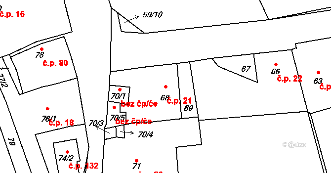 Dubno 21 na parcele st. 68 v KÚ Dubno, Katastrální mapa