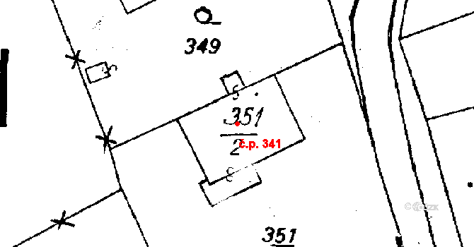 Újezd 341 na parcele st. 351/2 v KÚ Újezd u Uničova, Katastrální mapa