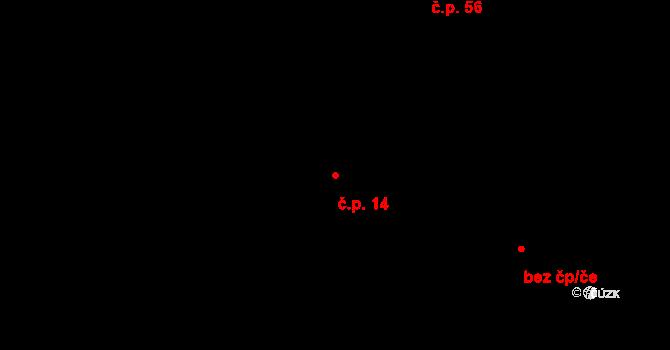 Malé Březno 14 na parcele st. 33 v KÚ Malé Březno, Katastrální mapa