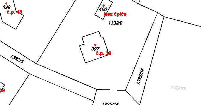 Vranovská Lhota 38, Vranov na parcele st. 397 v KÚ Vranovská Lhota, Katastrální mapa