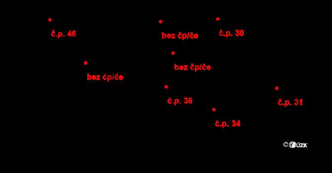 Vepřová 36 na parcele st. 12 v KÚ Vepřová, Katastrální mapa