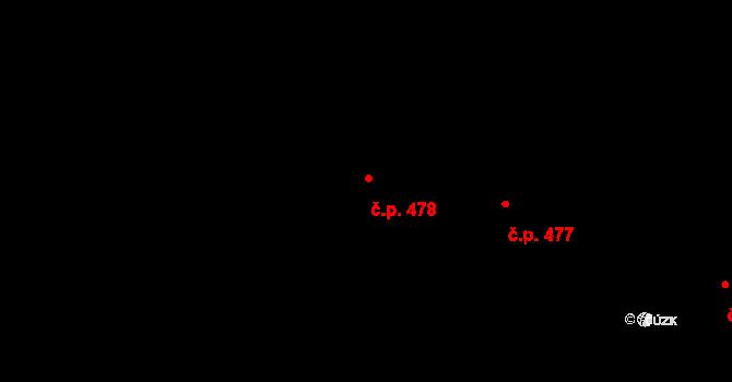 Nivnice 478 na parcele st. 2068/9 v KÚ Nivnice, Katastrální mapa