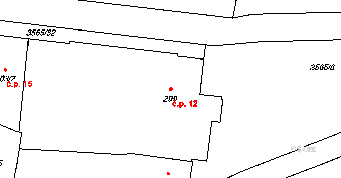 Zlín 12 na parcele st. 299 v KÚ Zlín, Katastrální mapa