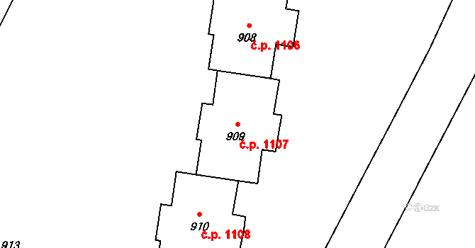 Kopřivnice 1107 na parcele st. 909 v KÚ Kopřivnice, Katastrální mapa
