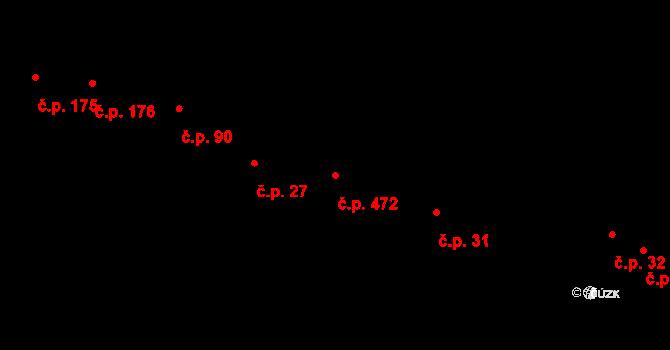 Veleslavín 472, Praha na parcele st. 87 v KÚ Veleslavín, Katastrální mapa