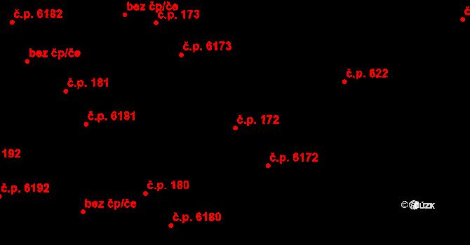 Mladcová 172, Zlín na parcele st. 251/1 v KÚ Mladcová, Katastrální mapa