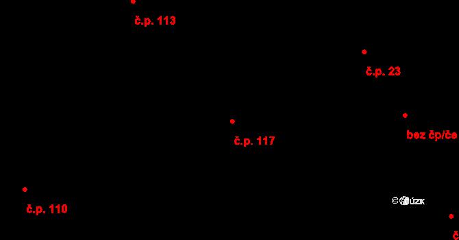 Trnová 117 na parcele st. 127 v KÚ Trnová u Plzně, Katastrální mapa