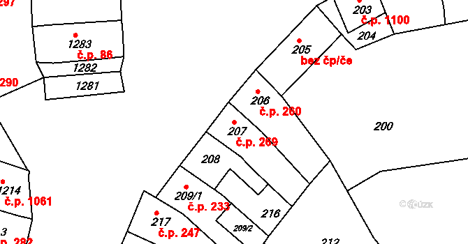 Újezd u Brna 269 na parcele st. 207 v KÚ Újezd u Brna, Katastrální mapa