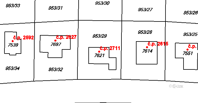 Cheb 2711 na parcele st. 7621 v KÚ Cheb, Katastrální mapa
