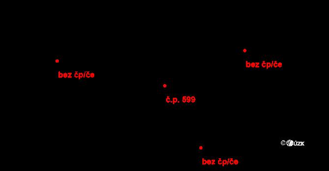 Prštné 599, Zlín na parcele st. 820/1 v KÚ Prštné, Katastrální mapa