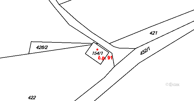 Staré Hutě 91 na parcele st. 154/1 v KÚ Staré Hutě na Moravě, Katastrální mapa