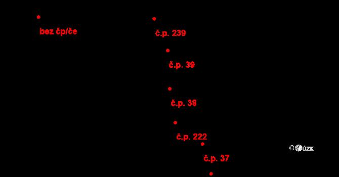 Hroznová Lhota 38 na parcele st. 163/1 v KÚ Hroznová Lhota, Katastrální mapa