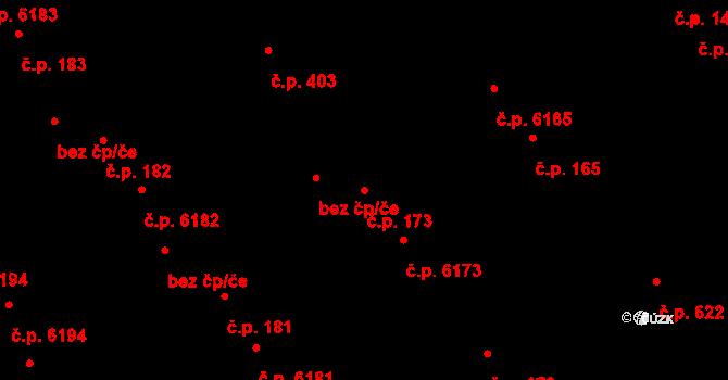 Mladcová 173, Zlín na parcele st. 252/1 v KÚ Mladcová, Katastrální mapa