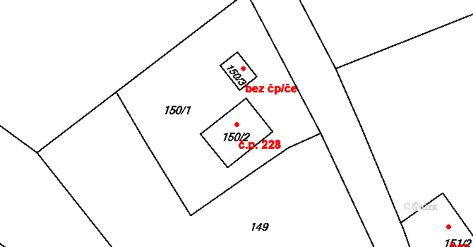 Dolní Libchava 228, Česká Lípa na parcele st. 150/2 v KÚ Dolní Libchava, Katastrální mapa