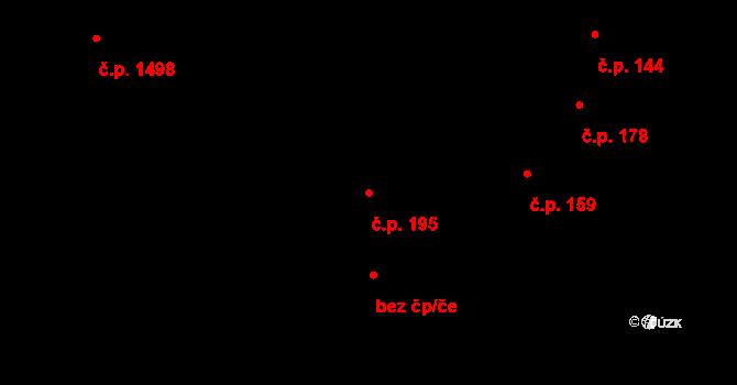 Mníšek pod Brdy 195 na parcele st. 369/1 v KÚ Mníšek pod Brdy, Katastrální mapa