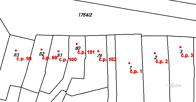Vamberk 102 na parcele st. 79 v KÚ Vamberk, Katastrální mapa