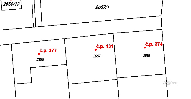 Horní Těrlicko 131, Těrlicko na parcele st. 2667 v KÚ Horní Těrlicko, Katastrální mapa