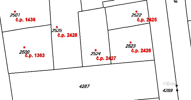 Vinohrady 2427, Praha na parcele st. 2524 v KÚ Vinohrady, Katastrální mapa