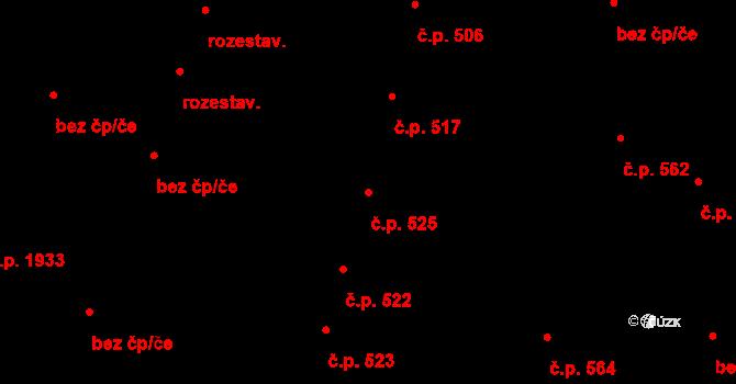 Benešov 525 na parcele st. 624 v KÚ Benešov u Prahy, Katastrální mapa