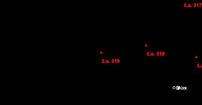 Lety 319 na parcele st. 1441 v KÚ Lety u Dobřichovic, Katastrální mapa