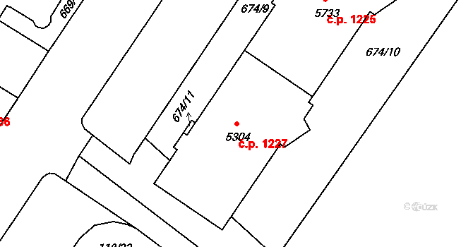 Mladá Boleslav II 1227, Mladá Boleslav na parcele st. 5304 v KÚ Mladá Boleslav, Katastrální mapa