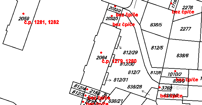 Pražské Předměstí 1279,1280, Hradec Králové na parcele st. 2064 v KÚ Pražské Předměstí, Katastrální mapa