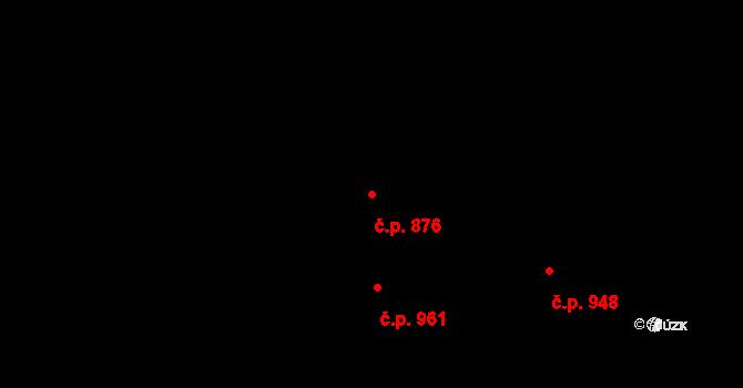 Újezd u Brna 876 na parcele st. 738 v KÚ Újezd u Brna, Katastrální mapa