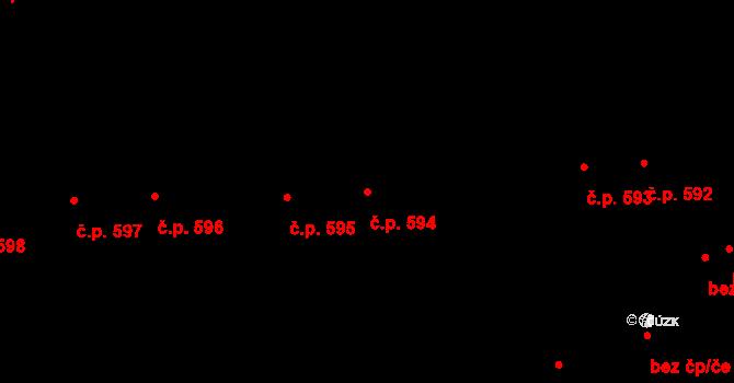 Svítkov 594, Pardubice na parcele st. 672 v KÚ Svítkov, Katastrální mapa