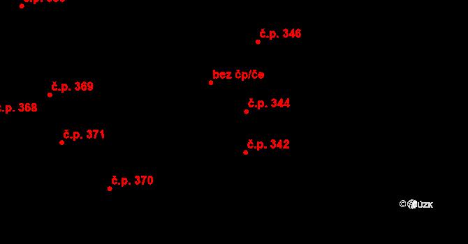 Čejkovice 344 na parcele st. 322/1 v KÚ Čejkovice, Katastrální mapa