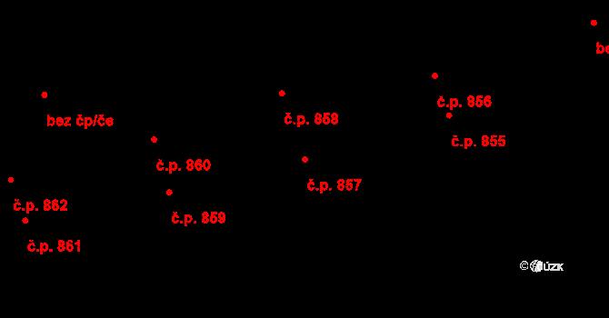 Švermov 857, Kladno na parcele st. 634 v KÚ Hnidousy, Katastrální mapa