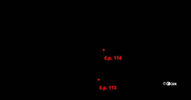Stará Huť 114 na parcele st. 135 v KÚ Stará Huť, Katastrální mapa
