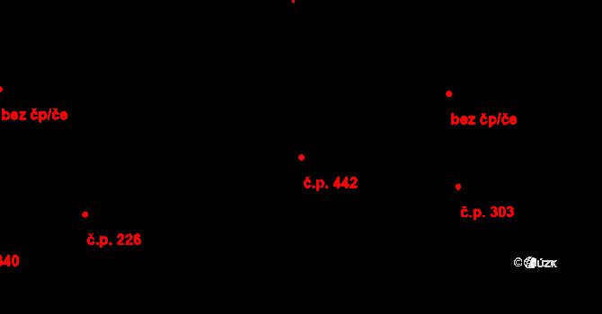 Louky 442, Zlín na parcele st. 758 v KÚ Louky nad Dřevnicí, Katastrální mapa