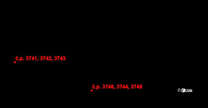 Zlín 3744,3745,3746 na parcele st. 4370 v KÚ Zlín, Katastrální mapa