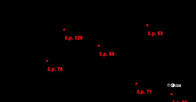 Davle 56 na parcele st. 76 v KÚ Davle, Katastrální mapa