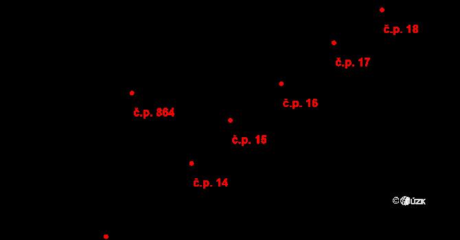 Nový Jičín 15 na parcele st. 118 v KÚ Nový Jičín-město, Katastrální mapa