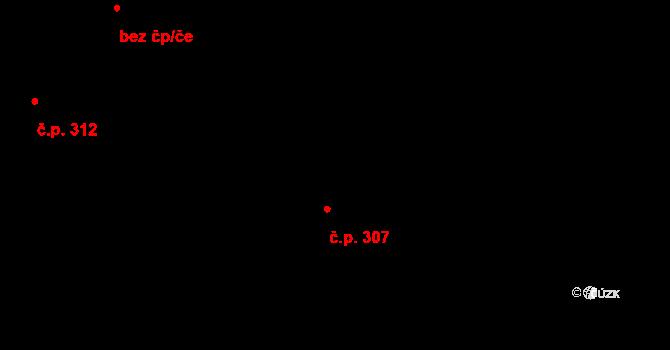 Vysoké nad Jizerou 307 na parcele st. 357 v KÚ Vysoké nad Jizerou, Katastrální mapa