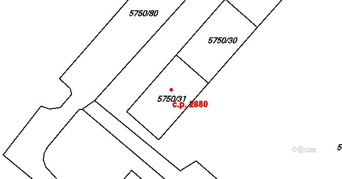 Česká Lípa 2880 na parcele st. 5750/31 v KÚ Česká Lípa, Katastrální mapa