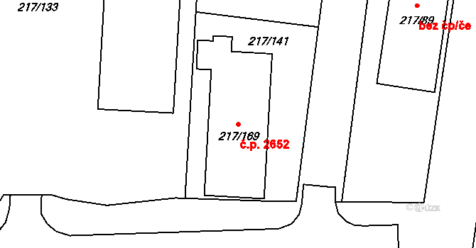 Šternberk 2652 na parcele st. 217/169 v KÚ Lhota u Šternberka, Katastrální mapa