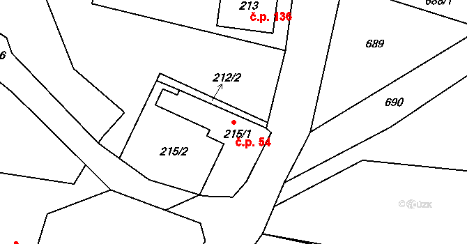 Velíková 54, Zlín na parcele st. 215/1 v KÚ Velíková, Katastrální mapa