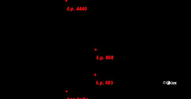 Zlín 608 na parcele st. 1069 v KÚ Zlín, Katastrální mapa